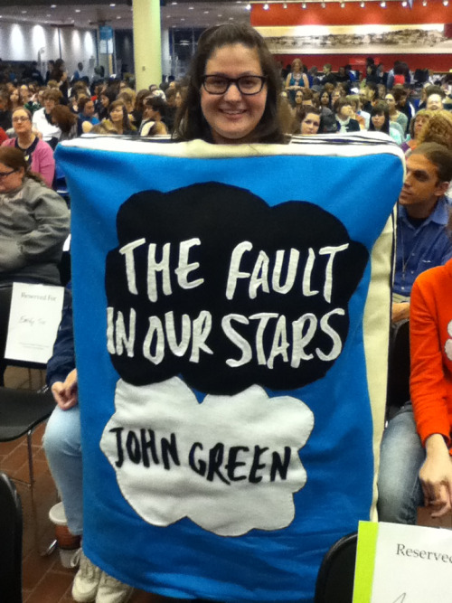 Live from the Library of Cincinnati John Green event! Maria M (http://mylovelettertopenguin.tumblr.com) has dressed up as TfiOS and it is amazing.