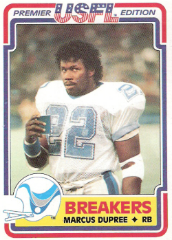 While we're on a football card kick, here's Marcus Dupree's 1984 card from the New Orleans Breakers. I had no idea Dupree was on the Breakers, and was only vaguely familiar with his story, until I saw The Best that Never Was. It's a good documentary, and free on Netflix.