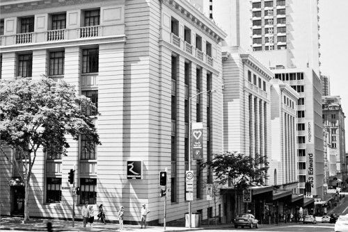 View down Edward Street, Brisbane - 2012 Pentax K1000 50mm f/1.4 Ilford XP2