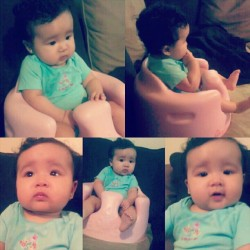 Chillin in her chair watching fairy odd parents. Haha aunties cutie. #precious  #jadeamaiya #niece #princess #love #forever #chillin  (Taken with Instagram)