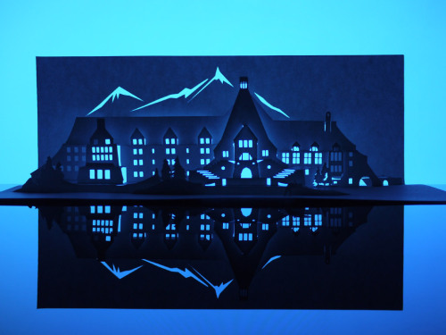 "the-overlook-hotel:  Paper artist Marc Hagan-Guirey has created The Shining's Overlook Hotel from a single sheet of paper. The piece is part of his ""Horrorgami"" series of 13 haunted houses, which will be on display at London's Gallery One-And-A-Half from November 1st - 14th, 2012."