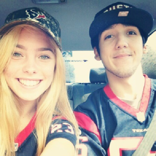 All dressed up going to watch the Texans game last night with my baby @whoa_mauroh. #TexansFans #CamoHat #MatchingJerseys (Taken with Instagram)