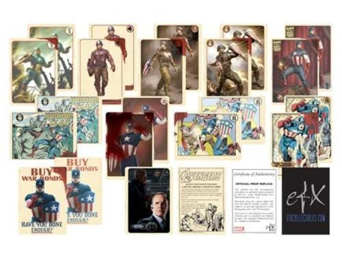 "populationgo:  Agent Coulson's Vintage ""Captain America"" Trading Cards Set The Internet is already buzzing thanks to the revealing of Agent Phil Coulson (Clark Gregg) headlining the upcoming SHIELD television series. One thing's apparent: people love Phil. So maybe they'd like to own those ""near mint"" and ""vintage"" Captain America Trading Cards the SHIELD Agent went on about in The Avengers. You can pre-order the set for $37.99 at Big Bad Toy Store. It's due for release in November and even features the ""blood stains"" Nick Fury used to give Earth's Mightiest Heroes a ""push."" [Big Bad Toy Store]"