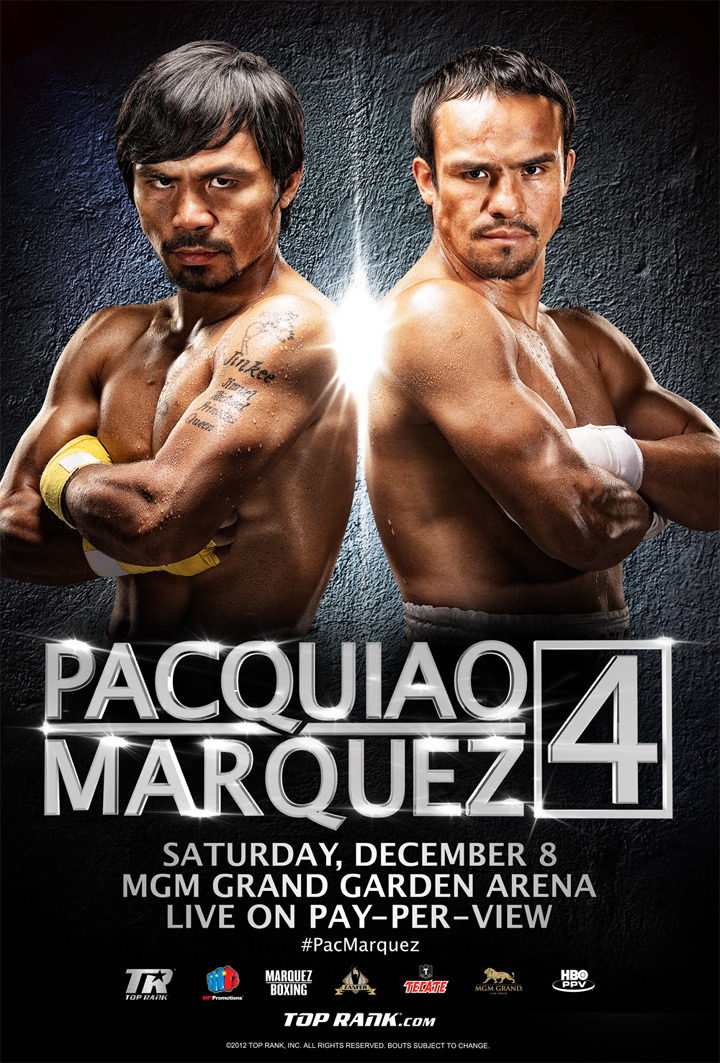 "Pacquiao vs. Marquez IV at MGM Grand  Fighter of the Decade Manny ""Pacman"" Pacquiao of the Philippines and four-division world champion Juan Manuel ""Dinamita"" Marquez of Mexico will go mano a mano and toe-to-toe once again in a 12-round welterweight battle. Pacquiao-Marquez 4, the eagerly anticipated fourth act of their fistoric rivalry, will take place Saturday, December 8 at MGM Grand Garden Arena. Stay tuned for behind the scenes photos!"