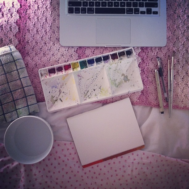 Commissions in bed (Taken with Instagram)