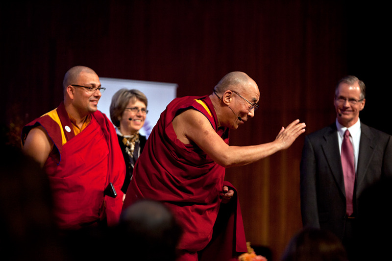 His Holiness the Dalai Lama spoke with a panel of scientists and economists about overpopulation, climate change and economic inequality at the Global Systems 2.0 Forum on Oct. 15, 2012.  Massachusetts Institute of Technology, Cambridge, MA