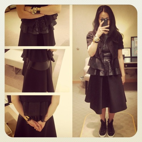 More volume please. #rochas jacket #zara peplum top #h&m skirt #hermes H bangle #converse high tops #sneakers #fashion #wearingnow  (Taken with Instagram)