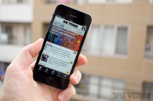 thisistheverge:  The Verge iOS app updated with forums, iPhone 5 compatibility, and interface tweaks iOS users, the wait is over — after updating our Android app with some design tweaks and the ability to browse the forums, we've now done the same for you. The latest version of the Verge app is live in the App Store right now and brings you all the forum functionality of the Android app along with some iOS-specific UI improvements. It also takes full advantage of the iPhone 5 and new iPod touch's taller screen.   One of the most beautiful tech blog apps I've seen. What a joy to use!