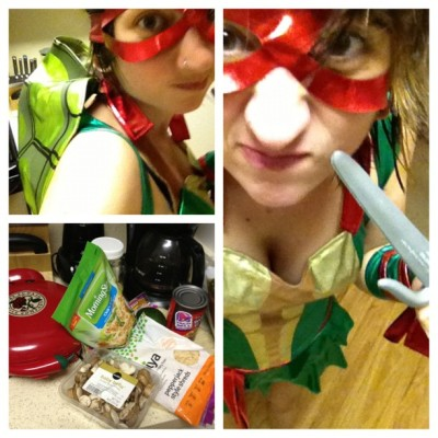 Depressing Mondays call for costumed Vegan cooking, obviously. #picstitch #vegan #raphael #tmnt #daiya #quesadillas #halloween #nolife (Taken with Instagram)