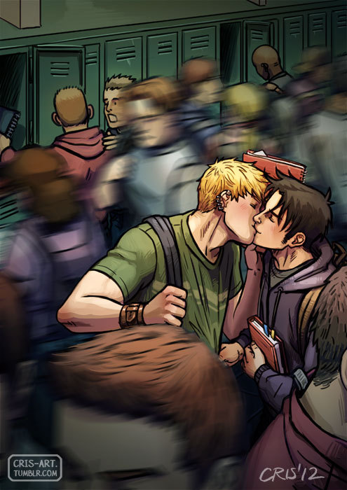 "cris-art:  30 Day OTP Challenge Day 05: Kissing A quick kiss in the school hallways just before they head off to their separate classes. I imagine Billy looking around and then grabbing Teddy's shirt. Teddy understands and lifts his notebook up to their faces, and they quickly kiss and say, ""See you!""  I hope you like! ♥   Stuck home from the hurricane, and putting that time to good use by writing fic based on this amazing, amazing, amazing art. Read it here or at AO3.   —- Friday morning Billy's dad knocks on the door before sticking his head in. ""Mom's birthday is next week,"" he says. ""I know,"" Billy says. ""I heard her talking about this new fancy bath cream she wants,"" his dad says. This is a familiar routine in their family, taking place before all birthdays and gift-giving holidays. When Billy was little, his dad would buy the gift from him and his brothers to their mom, and they would just sign the card. The last couple of years, since Billy's been old enough, his dad just make sure to tell him what to buy. For their dad's birthday, it's his mom in the doorway. ""I'll go pick it up this weekend,"" Billy sighs. ""Great,"" his dad says handing over a business card with the address of some store in Soho. Seriously, a business card for a soap shop. On the back there's some handwritten scribble that Billy assumes is the products he's supposed to buy. Hopefully the people in the store can decipher their own writing because as far as Billy can make out he's might be going there to buy a fruit salad, there's a ""pomeg-"" something and ""passionfrt."" ""I know your brothers have saved a couple of bucks from their allowance, but here's to cover their share,"" his dad says handing over two twenties. ""Seriously, how much is this going to set me back?"" Billy says, surveying the cash in his wallet mentally adding the money from his dad to it. ""If you need more, let me know,"" his dad says, pausing. ""You should ask Tommy and Teddy if they want to chip in too."" ""Okay, thanks dad,"" Billy says, dismissing him. ""Have a good day at school,"" his dad says, still standing in the doorway. ""Bye,"" Billy says pointedly. ""Okay, okay, I'm leaving,"" his dad says, stepping back into the hallway and closing the door behind him. —- ""So, my mom's birthday is next week,"" Billy tells Tommy and Teddy as they wait for the cross-town bus to school that morning. ""Cool,"" Tommy says, shrugging noncommittally. ""We should do something for her,"" Teddy says. ""Rebecca has been great, and your dad, taking us in and all."" ""She told my dad she wants some fancy bath creams, so I'm going to pick it up this weekend from me and the twins. You guys can chip in,"" Billy says. ""Isn't that cheating?"" Teddy asks. ""What?"" Billy says. ""Buying someone exactly what they asked for,"" Teddy says. ""Presents are supposed to be a surprise. And as the gift giver, you're supposed to pick something out from the heart."" ""Um,"" Billy says, leaning into Teddy. ""While that is incredibly sweet and I probably shouldn't be discouraging my boyfriend from being adorable."" Teddy beams at this and Billy has to lean over to kiss him before continuing. ""This is what we always do. The gift is from the heart. It just also happens to be what she wants, instead of some random thing I'd pick out that she'd have to pretend to like even though it would probably suck."" ""Sure, count me in,"" Tommy says, having gotten over his fake gagging at their kiss, pulling out his wallet. ""How much do you want?"" ""My brothers gave me $20 each. I don't know what this stuff is actually gonna cost, but if it's less I'll give you change."" ""Okay, here,"" Tommy says, giving Billy the money. ""Teddy?"" Billy asks, taking Tommy's money. ""Sure, I guess if that's what Rebecca wants,"" he says, pulling out some rumpled bills to give Billy. ""And if you want a decent gift for your birthday, you'll probably want to think about who you're gonna pass your wish list through,"" Billy says. ""No way,"" Teddy says. ""You're gonna just have to figure something out on your own for me."" ""I want an iPad,"" Tommy says. ""And an laptop. Oh, and a Wii. And a pony. And a jumbo jet."" ""I'll keep that in mind,"" Billy says, rolling his eyes at Tommy's increasingly ridiculous requests as they get on the bus. —- Billy wakes up late Saturday morning, later than he intended if he's making out the time on his iPhone right through his squinting, still-half-asleep blurriness. Teddy takes an SAT prep class Saturday mornings, and they usually meet after for lunch and comics. But Billy had meant to go to buy his mom's present first. He rubs the sleep out of his eyes and looks at the clock again, hoping it's changed, but nope, he's definitely running late. Billy rolls out of bed to get ready. On his way to the 6 he texts Teddy, overslept, might be late, have to get mom gift, meet you at forbidden planet. The SAT class is supposed to be like real class, with no phones, but Billy gets a response right away, i can meet you to get your moms gift nah, Billy texts back, no need for both of us to suffer through a stupid smelly bath stuff store. Billy gets one last text from Teddy before he goes underground to the subway, okay see you there love you, and he stops, that annoying person standing on the staircase, blocking the way so he can send one last text, :) love you to. Billy knows roughly where he's going, so he doesn't pull up directions until he gets out of the subway in Soho, walking south on Broadway. The place isn't far from the subway, and he finds it easily enough. The store is a tiny little shop, filled with salespeople and free-standing sinks, but largely devoid of products. ""Um, hi,"" Billy says to one of the guys at a sink. ""I'm looking for a birthday present for my mom."" ""We have great products,"" the guy says in a heavily accented voice. ""Here, let me show you,"" and he takes Billy's hands and puts them over the sink. ""Um, okay,"" Billy says, leaving his hands awkwardly over the sink, while the guy smiles with all of his intensely white teeth, and then launches into his sales schpiel. The guy opens a short squat jar, of what Billy now knows is hand scrub, which is different than soap apparently, and holds it to his face, telling him to smell. Billy must make some affirmative sound or nod or something because then he has a spoon-full of the stuff on his hands and he's being instructed to scrub. He really just wants to get his mom the present and go meet Teddy, but at this point the fastest way out is probably through, so he scrubs his hands (and all those little flecks in the cream actually scratch at his skin, so now he knows why it's called 'scrub'). After that's rinsed off, explaining the mid-store sinks, his hands get a dollop of lotion. While he's rubbing in the lotion the guy retreats to the wall to pull about a billion products over to where Billy's standing, with barely a pause in his script. ""So, here's what I can do for you,"" the guy says. ""We have the body scrub in two scents which is normally, and the body lotion which, and the hand cream,"" holding each one up in turn. ""Now normally, they're each $50, but today, if you buy the scrub and the lotion, I'll throw in the hand cream. So instead of paying $150, you get all three for $100, which is a great deal."" ""Yes, okay, hold on a sec,"" Billy says interrupting. It's a good thing everyone chipped in. A hundred dollars for bath cream is ridiculous. Billy pulls the card with what he's supposed to be buying while the guy starts talking again after barely pausing when Billy spoke. ""They all come in a variety of scents, there's vanilla, and jasmine, and passionfruit-"" ""Yes, that one,"" Billy says, learning that he needs to be more aggressive if he wants to get a word in edgewise here. It's easy to pick out the other two after that, and he lets them box it up in a gift box with a froufrou ribbon and finally get on his way. His hands feel weird and smooth from the treatment and he doesn't understand why people like this. Also, they smell all fruity. He wipes his hands off on his jeans, for whatever good that does, before pulling his phone out of his pocket and checking the time. He mentally calculates how long it will take him to walk up to meet Teddy. Even with all the foot traffic on Broadway, he shouldn't be too too late, and he shoots off a text to that effect. Billy's not sure what it is exactly that catches his eye when he looks up from his phone. He's standing in front of one of those folding tables that a guy is selling jewelry from that doesn't look any different from the other dozen on the street. Except there are these leather wrist cuffs, that Billy can already imagine Teddy in. Billy could hold Teddy's hand and be able to slide his thumb up the side of Teddy's hand and run it along his wrist where the leather meets the soft skin on the inside of his wrist. And Billy could push Teddy down on his bed holding Teddy's wrists, skin and leather, sliding his hands up until they're pressed against his headboard, and how he'd say 'stay' when he takes his hands away, and even though Teddy would arch his back and thrust his hips up into the empty air above him, Teddy would keep his hands pinned where Billy left them, held by nothing but his word wrapped in that leather cuff. Billy would tease Teddy, taking the time rub his lips along the hollow of Teddy's throat, tasting the sweat that gathers there, dragging his stubble along Teddy's skin knowing that he can be as rough as he wants because the marks will fade immediately with the healing factor, taking it as a challenge, seeing if he can suck a mark onto Teddy's skin that will still be there when they're curling up in the afterglow, worrying the skin between his teeth before moving on. He'd move down to Teddy's nipple, licking and sucking one, while his fingertips graze the other one, twice, three times before he rakes across it with his thumbnail, knowing Teddy can take it even without the steady stream of 'fuck, yeah, Billy' falling from his mouth, chest pushing up to take more of it, even as his wrists stay pinned. Billy knows Teddy's planning to get his nipples pierced when he turns 18, not just shifting into it, but going to a place where they'll do it with needles, because 'it's the good kind of hurt, y'know?' and how can Billy not do this for him when it's divulged in quiet, private tones like this confession is a gift and- ""Can I help you with something?"" the woman manning the table interrupts, jarring Billy from his run away thoughts. ""I- uh- how much are the cuffs?"" Billy asks, pointing to a medium brown one laying on the table. ""$30,"" she says. ""I'll take it,"" he says, thoughts still tumbling around Teddy at home in his bedroom, pulling out his wallet blindly and handing over two twenties. The woman takes his money, flipping through a huge wad of bills to hand him his $10 change. Billy picks up the cuff, and the woman gives him a plastic bag for it. ""Thanks,"" he says, taking the bag and heading down the street. Already he's having second thoughts. Did he really just buy his boyfriend jewelry? That's like- he really didn't think they were that type of couple. And like, would Teddy even like it? It's not Teddy's birthday or anything. Should he save it for some gift-giving occasion? Yesterday Teddy seemed super-serious when they were talking about gifts. Is this a gift from the heart or whatever Teddy was saying? Do gifts from the dick count? And then Billy has to stop laugh at himself like an idiot on his way up Broadway, because 'gifts from the dick'? Really? It doesn't have to be a big deal. He doesn't have to give the cuff to Teddy immediately. He can think about it and decide. With that settled in his mind, he hurries the rest of the way to meet Teddy. He glances around as he walks into Forbidden Planet, looking for Teddy. He spots him over by the new releases. Billy walks up behind him, sliding a hand around his waist, pulling him from the comic he was flipping through. ""Hey, you,"" Teddy says, kissing Billy hello. ""Hey, sorry I'm late,"" Billy says accepting the kiss. ""No problem,"" Teddy says, ""you're not that late."" ""You should be so happy you didn't come to the lotion store. I totally saved you from having to get a hand scrub."" Billy switches the hand he's holding the bags in so he can hold his hand up to Teddy's face. ""Smell my hands,"" he says. ""Fruity,"" Teddy says, taking a sniff. ""I know,"" Billy says. ""And they're all weirdly smooth,"" and he rubs his hand on Teddy's face, pulling away when Teddy's face scrunches up uncomfortably. ""I don't get that stuff. Like, this might be terrible to say, but I'm just not that gay."" ""You're gay enough where it matters,"" Teddy says, nudging at Billy's side. ""Thanks,"" Billy says deadpan. ""So, anything good?"" he asks, changing the topic. ""There's the new Avengers you were talking about,"" Teddy says, nodding to the shelf. ""I was gonna get the new X-Men."" ""We're still getting lunch, right?"" ""Yeah,"" Teddy says. ""I'm hungry."" Billy does the math in his head, but it's not hard, he's got ten bucks left and he's gonna be cutting it close for lunch even without buying the comic. ""I'll get it next week,"" Billy says. ""This morning's gift pretty much wiped me out."" ""Oh,"" Teddy says. ""I was looking at it, and it looks cool. If you're not getting it, I can, and we can share."" ""Are you sure? You don't have to,"" Billy says. ""Yeah,"" Teddy says. ""It's no problem."" ""Best boyfriend ever,"" Billy says. ""I try,"" Teddy says, picking up the two comics he's getting. ""What were you thinking for lunch?"" Billy shrugs. ""Whatever."" ""I could go for a burrito,"" Teddy offers. ""It's nice out, and it didn't look like there were any crazies in the park. We could get Chipotle and eat outside."" ""Works for me,"" Billy says, following Teddy so he can pay for the comics. They walk north, past the park to get to Chipotle, and Teddy is right. There's no jesus coalition or anyone occupying anything, just the usual smattering of people sitting outside, some one playing bongos off on the far side and a couple of people standing around offering free hugs, but there's still plenty of space to sit and not be bothered. They get their burritos and head back to sit down on the steps. They tuck their shopping bags under their knees and unwrap their food, Teddy offering Billy some of the guac he paid extra for. When Billy nods that he wants some, Teddy leaves the little cup of it sitting between them while they dig into their food. When they're most of the way done, picking at the end of their oversized burritos, Teddy notices Billy's extra shopping bag. ""What else did you get?"" he asks. ""Oh,"" Billy says, hesitating, ""um, it's actually for you. I saw this and thought of you."" Billy shifts around , shoving all their empty food wrappers back into the Chipotle bag so he can pull the bag up to his lap and take out the cuff. He hands it to Teddy. Teddy takes it holding the cuff with both his hands, running his thumbs along the leather. ""Thank you."" ""You like it? Really?"" Billy says, nervously. ""Yes, it's great,"" Teddy says, undoing the clasp. He wraps it around his right wrist, hand palm-up in his lap as he tries to get in closed with his left hand. ""Here, let me,"" Billy says, leaning over to buckle it closed easily. ""There."" ""So, what do you think?"" Teddy asks, turning his hand back over. ""You look hot,"" Billy says. ""You always think that,"" Teddy says, teasing, scooting closer to Billy on the stair they're sitting on. ""Hotter. Whatever. You like it,"" Billy says, taking Teddy's hand in his. The leather feels as good Billy imagined, as he trails the fingers of his hand not currently clasped in Teddy's along the edge. ""Yup,"" Teddy says. ""What did you want to do with the rest of the day?"" ""I have an essay for English that I should probably work on,"" Billy says, still rubbing at the cuff ""unless I procrastinate and put it off until tomorrow. We can head home and read our new comics or whatever, if no one else is home."" ""Whatever, huh? I could go for that,"" Teddy says. ""Well then let's hope no one's there."" —- There's no one home when they get back, a note on the fridge from Billy's mom saying that the twins are at a friends house and she's out running errands with dad, should be back around 4. Teddy wraps his arms around Billy, reading pulling Billy in as he reads the note over Billy's shoulder. ""Your room?"" he asks, letting the words breathe hot against Billy's ear. ""Yeah,"" Billy says, rolling his head back against Teddy's chest so Teddy can make good on the promise in his breath. Teddy does, kissing at the hollow behind Billy's ear, sucking his earlobe into his mouth. ""Come on, my room."" Billy pulls away from Teddy's mouth to pull Teddy along behind him. Teddy doesn't want to let Billy go, so they trip over one another, down the hall to Billy's bedroom. Real Billy isn't even half as patient as his fantasy self, barely pushing Teddy's flannel of his shoulders before scrabbling for the hem of his t-shirt. But he can't get it off, because Teddy won't relinquish Billy's mouth, kissing wet and desperate and like he can never, ever get enough. Billy knows he can't. But finally Teddy's frustration with Billy's shirt has him pulling away, ""just take it off,"" Teddy says, pulling on Billy's shirt. ""You too,"" Billy says, shirt off wasting no time, tossed to the floor, pulling Teddy to his bed as Teddy still struggles with his layers. ""Come on, slow poke,"" Billy says, taking the initiative to open Teddy's fly, shoving his jeans and boxers down his thigh so he can jerk Teddy off. Finally, finally freed of his shirt Teddy kisses Billy again, returning the favor, pushing Billy's jeans out of the way. Billy's been keyed up since he saw the cuff on the street, halfway ready to go for ages so Teddy's hand slides easily on Billy's cock, path slick with pre-come. Teddy's other hand is tangled in Billy's hair, holding him in place as he invades Billy's mouth with his tongue. Billy's mounting his own defense, tightening his hand, pushing back at Teddy's tongue with his own whole body consumed with getting as much Teddy as possible. He holds on as long as he can, not breaking the kiss until he's desperate and gasping for breath, resting his forehead on Teddy's shoulder as he tries to get his breathing under control. Teddy buries his face in Billy's exposed neck, kissing and sucking along his skin. Billy blinks the sweat from his eyes, shuddering at Teddy's, fuck, everything. And when he realizes what he's looking out he shudders again, groaning. Because Teddy's still wearing the cuff, brown leather framing his hand as it runs up and down Billy's cock. The sight is almost too much, but he can't look away. Billy can only hold on as Teddy laves at his collarbone with his mouth, hand tightening, twisting just right on every upstroke until he comes, shaking and groaning with release. Billy's heart is still racing, blood pounding under his skin, when Teddy brings his own hand to join where Billy's has stilled on Teddy's cock. ""Shit, sorry,"" Billy says, ""Give me a sec and I'll keep going."" Teddy grunts, pure desperation before forcing his voice to form words, ""can't wait, don't worry,"" he says in choked off fragments. And Billy can understand that, Teddy's hand with the cuff still there is just as hot on his own cock. Billy wants to see Teddy lose it. He tightens his grip, tangles his fingers with Teddy's, and let's Teddy guide their hands up and down. Billy swipes at the liquid beading at the head on every pass, and Teddy keens at that, his heavy, desperate breathing loud right next to Billy's ear, until Teddy's keening breaks into a moan and he comes. They're slumped together, still kneeling on his bed, so Billy moves them down, so they're lying back. He puts the box of tissues on this bedside table to good use, wiping up his hand, their stomachs, and finally Teddy's hand, still wearing the cuff. He kicks his jeans the rest of the way off, and Teddy musters his strength to do the same. He lies down on Teddy, already starting to feel cold from the drying sweat, but Teddy's warm where his arms wrap around Billy. ""I really like the cuff,"" Teddy mumbles. ""Me too,"" Billy says, trying to enjoy lying there. Teddy's hands are running up and down his back and he can really never get enough of Teddy's bare golden skin under him. But there's only so much he can do to hold off on shivering in the cold. ""Budge over,"" Billy says, ""I wanna get under the covers."" ""What time is it?"" Teddy asks. Billy sits up to pull his phone from his abandoned pants pocket. ""Ugh,"" Billy says. ""I guess I'll take the first shower."" Teddy pushes himself up to sitting, so he can lean forward to where Billy's now at the end of his bed, and give him a kiss. ""Love you,"" Teddy says. ""Love you too,"" Billy says, reluctantly getting up, putting on his bathrobe to head to the shower, while Teddy pulls his clothes back on to go to his room. —- Billy's in the living-room, playing X-Box, when Teddy finishes showering, emerging with wet hair, in sweats and a t-shirt. Billy's eyes go immediately to Teddy's bare wrist. It's disappointing. ""I took it off to shower,"" Teddy says, seeing where Billy is looking, ""I didn't want to get it wet."" ""Oh, yeah, that makes sense,"" Billy says, because it does. Teddy comes to sit down next to Billy on the couch. Billy is similarly dressed in sweats, plus a giant goodie because of aforementioned always being cold. ""What are you playing?"" Teddy asks. ""Call of Duty with Eli,"" Billy says. ""Do you want to join the campaign?"" ""Sure,"" Teddy says getting up to grab another controller. —- Saturday night becomes a never ending video game marathon. Sunday is it's typical slow self, filled with homework and bumming around the house in PJs and the mandatory Kaplan weekly family dinner (where everyone living in the apartment counts as family). In contrast, Monday morning is always a challenge, just getting up is hard enough, let alone the mad scramble to get out the door and to school. So it's not until they're passing each other in the hall between second and third period that Billy notices it. Teddy is wearing the cuff. Billy stops Teddy with a hand on his chest. ""Hey,"" Teddy says, questioningly, ""what's up?"" ""You're wearing it,"" Billy says. ""I know,"" Teddy says, still seemingly not seeing why this is a big deal. ""You are the best,"" Billy says, grabbing a handful of Teddy's shirt and pulling Teddy towards him. They're not usually a demonstrative couple in school. Billy doesn't think they're fooling anyone about them dating, or that they're even trying, but Teddy more than anyone knows the shit he got at school. So Teddy's been really careful not to do anything that would make trouble for Billy. But Billy's done with that. If he wants to kiss his perfect boyfriend in the hallway between classes, fuck it, he's going to. So Billy kisses him. Teddy's hand comes up to cup his face, and seriously. ""The best,"" Billy repeats when he lets go. ""I think we're gonna have to disagree on that one,"" Teddy says, ""because from where I'm standing, that's you."" ""Maybe we can table this discussion until after school,"" Billy says. ""Like after school in your room?"" Teddy says. ""Exactly,"" Billy says, smirking. ""Love you,"" he adds, releasing his hold so he can go to his next class. ""Love you too,"" Teddy says, before heading in the other direction."