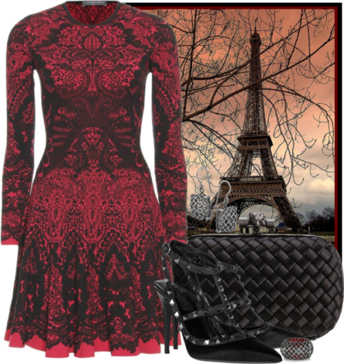 the-stranded-fashionista:  Parisian Gothic by ssquared featuring a satin clutch  Alexander McQueen / Valentino high heel shoes / Bottega Veneta satin clutch / Bottega Veneta oxidized silver jewelry / Bottega Veneta oxidized silver jewelry