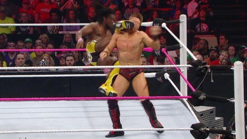 wrestlingdelorean:  Kofi Kingston destroys The Miz's face on Raw: October 15, 2012 Kofi absolutely destroyed The Miz's face with Trouble in Paradise. Really stiff kick. Doctors were trying to stop the bleeding after the match.