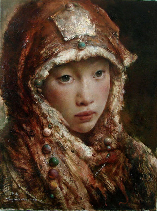 I might have a new favorite artist. Tang Wei Min, Chinese oil painter, captures beautiful ladies in traditional Asian finery. His paintings are modern and historical at the same time. I love how soft they look.