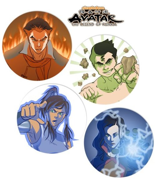 wildestheart4ever:  Legend of Korra button set by ~dzioo  omW i like how they made bolin shirtless ^.^