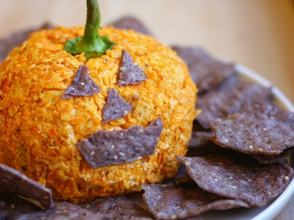 halloweendom:  Nacho Jack-o'-Lantern Cheese Ball | Devour The Blog