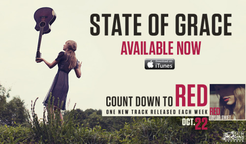 "bmlg:  ""State of Grace,"" the final count down track leading up to the release of Taylor Swift's RED, is now available at iTunes! What do you think?"