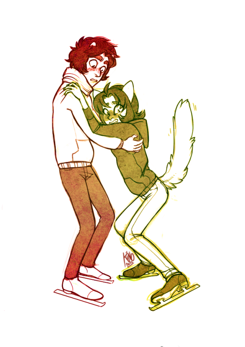 kinomatika:  kranky-kankri-vantas commissioned karkat teaching nepeta to ice skate, & nep having a hard time w it uwu this was super cute to draw.