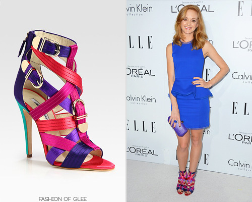 Jayma Mays arrives at ELLE's 19th annual Women In Hollywood Celebration, Beverly Hills, October 15, 2012 Jayma isn't afraid to wear a bit of color, and these Brian Atwood sandals certainly pack a punch! Brian Atwood 'Encanta' Strappy Multicolored Satin Buckle Sandals - $1,335.00 Worn with: Alexandra Vidal dress