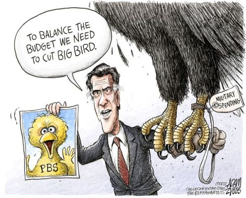 "Romney vu par le cartooniste Adam Zyglis : ""To balance the budget we need to cut Big Bird""."