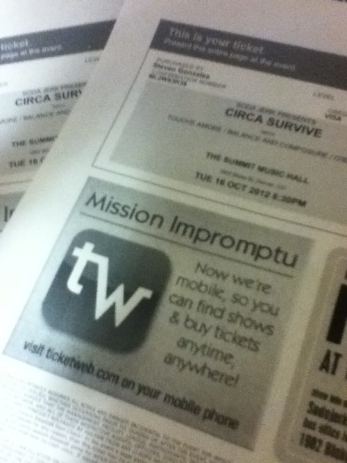 Omg just bought my circa survive tickets! So broke now haha