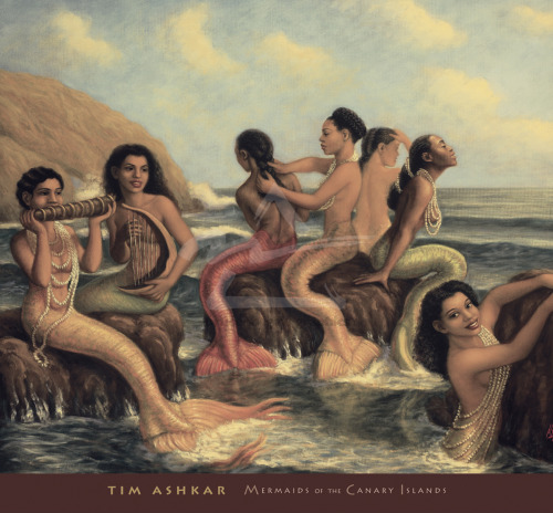 "queennubian:  tasha-dreams-of-pink-limousines:  Beautiful Mermaids/Sirens! The fact that I can find one that looks like me is even more amazing! I LOVE MERMAIDS! Tim Ashkar- ""Mermaids of the Canary Islands""  because black mermaids"