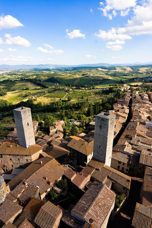 | ♕ |  View of San Gimignano - WHS city in Tuscany by © Mathew Lodge | via ysvoice