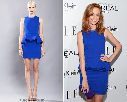 Jayma Mays arrives at ELLE's 19th annual Women In Hollywood Celebration, Beverly Hills, October 15, 2012 Cobalt blue was a fantastic color choice for Jayma and her famous ginger locks. Alexandra Vidal Spring 2013 RTW Cobalt Blue Stretch Georgette Peplum Dress Worn with: Brian Atwood sandals