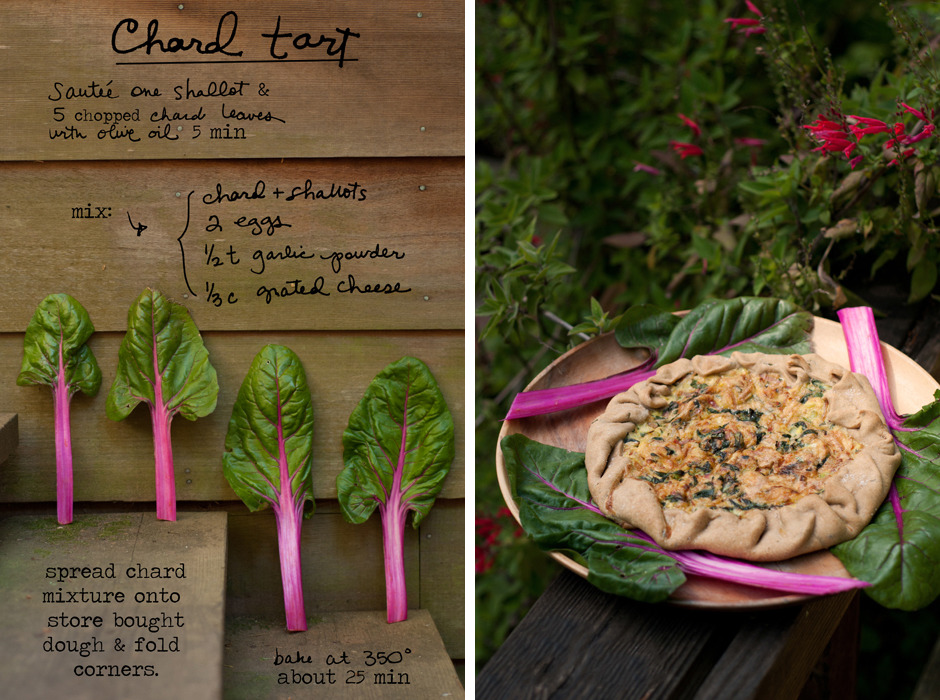 This Chard Tart could also be considered a free form quiche or galette. No matter what you call it, it's pretty great for breakfast, lunch or dinner! Slice the chard thinly and throw those stalks right in the mix as well (they are so pretty!). If you like your shallots (or you could use onion) more caramelized, you can cook those first (on medium) and throw the chard in for the last few minutes. Make your own dough or buy some from the store. I used whole wheat pizza dough, but for something a little richer, you could use pie crust. Enjoy! By Erin Gleeson for The Forest Feast