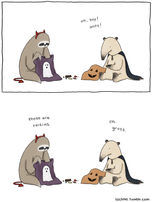 Liz Climo depicts an age-old truth: Raisins get no love on Halloween. (Doubly so if you're an anteater.)