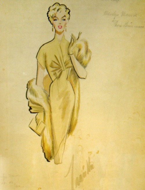theniftyfifties:  Costume design sketch by Travilla for Marilyn Monroe in 'There's No Business Like Show Business', 1954.  Wish.