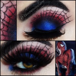 theevanitydiary:  SPIDER-MAN! ❤💙❤💙 lid is love cycle by Mac, crease is dark dare, then sugarpill love+, and vanilla pigment as a highlight. SpiderWeb is done with physicians formula eye booster and mac blacktrack fluid line, lashes are creme 301. (Taken with Instagram)
