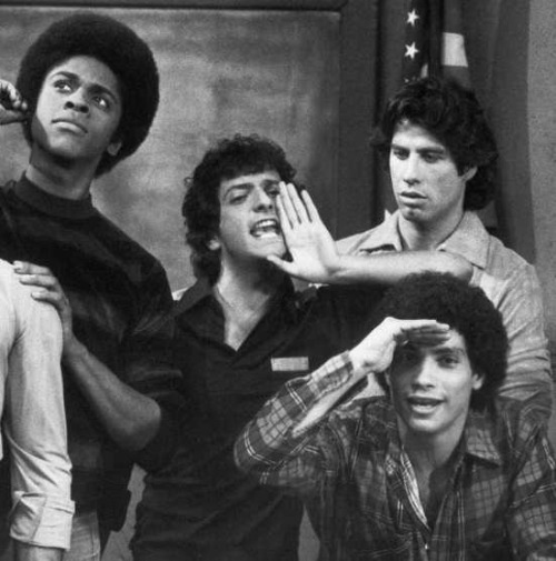 superseventies:  The cast of 'Welcome Back Kotter' -  Lawrence Hilton-Jacobs, Ron Palillo, John Travolta, Robert Hegyes.