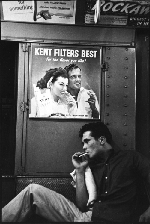 theniftyfifties:  Smoking on the subway. Brooklyn, 1959. Photo by Bruce Davidson.  You gotta love the 50's!