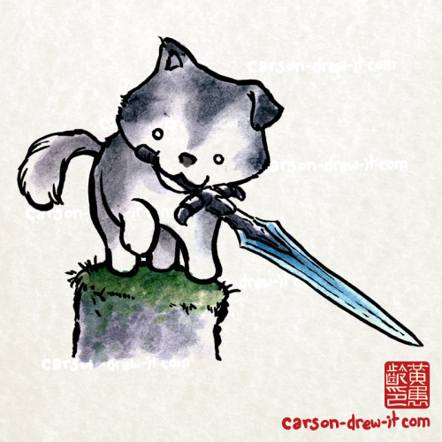 carson-drew-it:  Dark Souls Doodles!Great Grey Wolf Sif— In colour! I'll be making my way through my old illustrations now and adding colour to all of them! I'm still taking suggestions for new Black and White ones, but they will take a back seat to the colour versions.  Let me know what you think!