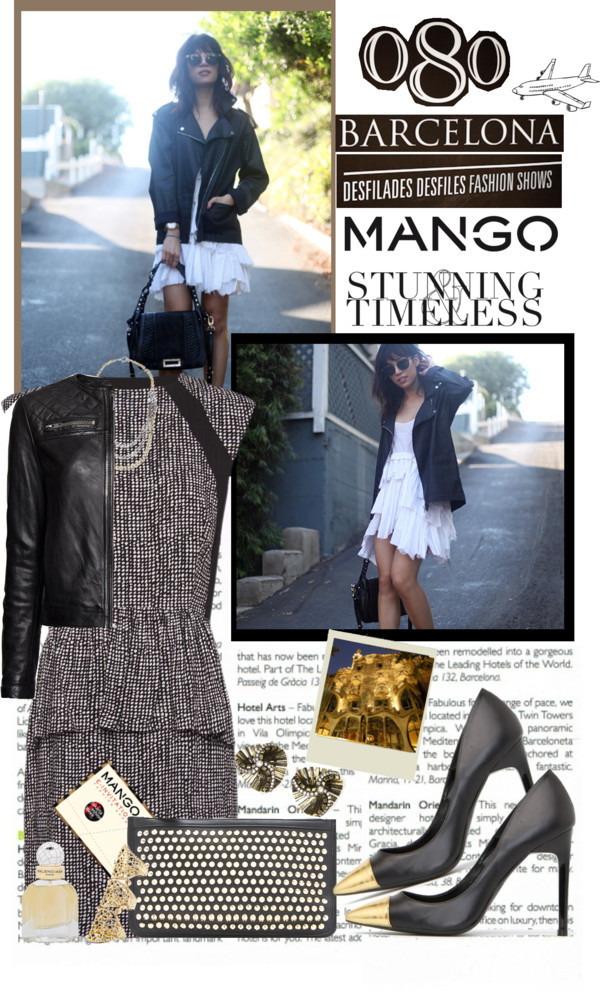 Winter Aesthetic with Mango and That's Chic by mako87 featuring metal jewelryMango print dress / Mango quilted jacket, $225 / Mango stiletto heels / Mango clutch handbag / Mango metal jewelry, $48 / Mango hinged ring, $48 / Mango vintage style necklace / Balenciaga