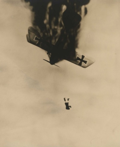 warwithinaframe:  Just as he left the burning plane, from the publication Death in the Air: The War Diary and Photographs of a Flying Corps Pilot. c. 1933  Wesley David Archer, American, 1892–1955