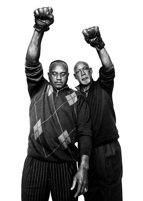 newmanology:  Tommie Smith and John Carlos, 1968 Olympic medal winnersPhotograph by Platon, originally published in The New Yorker (2011) Today (October 16) is the anniversary of Smith and Carlos's famous black power Olympics medal podium protest.   love to them.