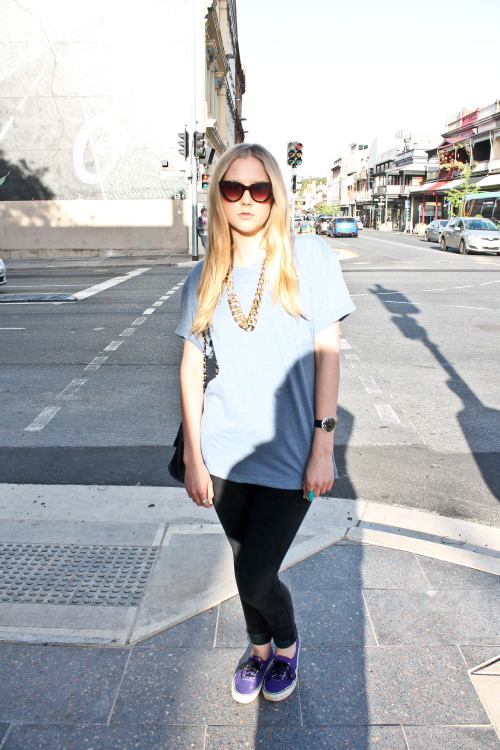 Name: Millie What you're wearing: American Apparel top, Collette necklace, Globalise pants, Sportsgirls glasses