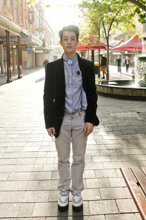 Name: Jonno Revanche What you're wearing: YSL velvet blazer, thrifted shirt, AA braces, vegetarian shoes creepers, haus of howe pants, handmade seashell Inspirations: androgynous style icons, cute and cartoony fashion (but with hard edges), adam ant, teenage mall goths and mermen.