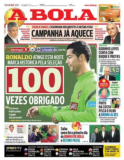"""100 x thank you""  Cristiano will celebrate his 100th cap for Portugal tonight vs. Northern Ireland."