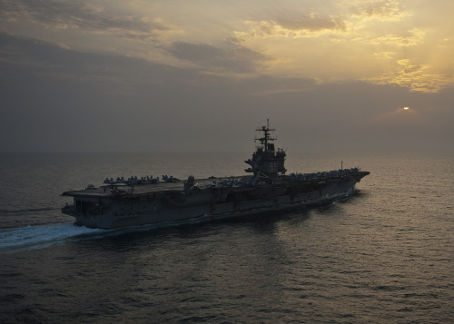"Over the weekend, ""Big E"" — USS Enterprise (CVN 65) — celebrated the Navy's 237th birthday in its own way. On-board fitness boss Amelia Chappell had sailors do 237 pushups and 237 curl-ups to mark the occasion, and the Enlisted Junior Sailor Organization hosted the annual tradition of cutting the Navy's birthday cake. Every year, the oldest and youngest sailor cut the first piece of the cake together. The celebration was bittersweet: As ""Big E"" wraps up its 25th and final deployment this year, it's the last Navy birthday celebration the carrier will host. Read the full story"