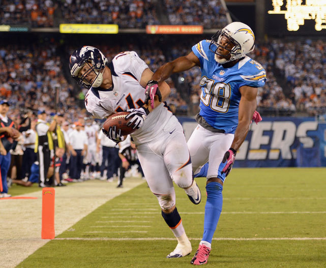 Brandon Stokley runs past Marcus Gilchrist for a touchdown in the fourth quarter of Monday's Broncos-Chargers game. In one of the most memorable comebacks in Monday Night Football history, Denver overcame a 24-0 halftime deficit to pull out a 35-24 victory. (Harry How/Getty Images) TROTTER: Manning rallies Broncos for improbable victoryVIDEO HIGHLIGHTS: Watch Denver's victory over San Diego