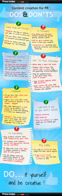 Content Creation for PR: DOs and DON'Ts (click to zoom in)  Press Index, 2012Public relations is changing fast, with traditional media relations opening up to incorporate new disciplines like online content production. Regular readers of this blog already know that creating content is an integral part of a successful PR 2.0 strategy, and that a key requirement of a great content strategy is for brands to become media. But how do PR professionals start evolving into multi-disciplinary PR 2.0 experts? Here are some essential DOs and DON'Ts of content production for PR to help you out.