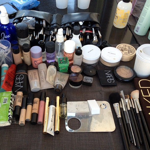 Today's tools for @refinery29 #makeupartist #behindthescenes #nyc #itnevergetsold #makeupjunkie #maccosmetics #ysl #shuumera #nars #makeupforever #lauramercier #tartecosmetics (Taken with Instagram)