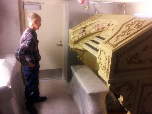 "Ken Crome delivered the ""new"" console for our Wurlitzer today, and it really looks great!  The console and a refurbished 10HP spencer blower were moved into their respective locations in the theatre.  Work begins in the chambers today in preparation for the return of the pipework in early 2013."