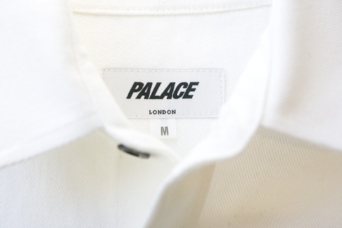 Palace. Over It Shirt.  Handmade in London. 100% Cotton Brushed Twill. Gold and Black Palace Tri Ferg Pin Badge.