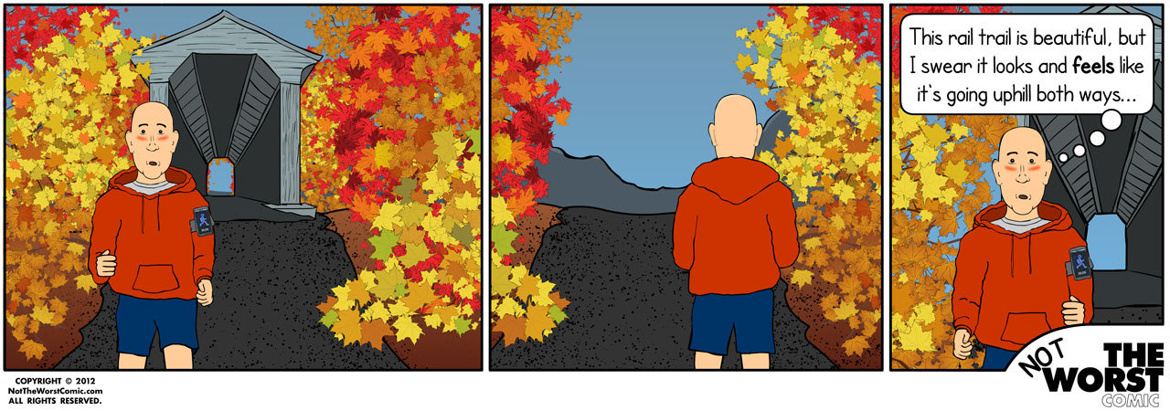 Not The Worst Comic - #108  Today's comic pays tribute to leaf peeping pedestrians in New England. Autumn is my favorite season, especially for running and especially here. The colors patterns are amazing when the trees still have their full foliage. As the season gets colder, the sun gradually becomes your friend, warming you up as you transition from a shady road to a more open section of road. I stick to the roads, though, as those rail trails are disorienting to me and seem to require twice the effort of running on the road!