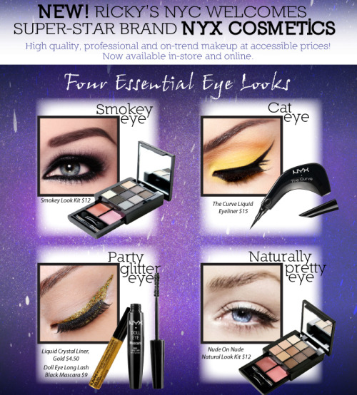 Have you heard the good news? NYX Cosmetics are now available in ALL of our stores & online at RickysNYC.com (& it's flying off the shelves). Come see why this on-trend makeup line (minus the heavy pricetag) is already a Ricky's Fan Favorite… Shop NYX now here: http://bit.ly/V5B1f4
