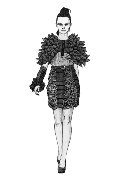Loving this illustration by Lo Parkin from my SS13 collection for Fashion Fringe