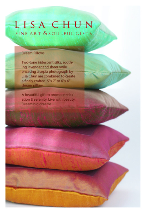Dream Pillows by Lisa Chun. Special prices, now through the holidays.  http://www.etsy.com/shop/lisachun And in person at: Art Show in a Dojo 2 | Kaizen Dojo  | November 18, 2012 | Noon - 5pm 1824 W. 182nd St., Torrance, California 90504 | http://www.tinyurl.com/artshowinadojo2
